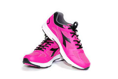BANGKOK,THAILAND-October 2 ,2016:Diadora new pink ultra boots shoes for running on white background -illustrative editorial Royalty Free Stock Photos