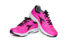 BANGKOK,THAILAND-October 2 ,2016:Diadora new pink ultra boots shoes for running on white background -illustrative editorial Royalty Free Stock Image