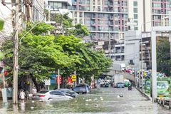 BANGKOK, THAILAND - OCTOBER 14 : Flooding in Din Daeng District. After the heaviest rains in 20 years in Bangkok on October 14, 2017 Stock Photos