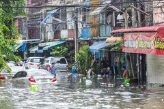 BANGKOK, THAILAND - OCTOBER 14 : Flooding in Din Daeng District. After the heaviest rains in 20 years in Bangkok on October 14, 2017 Stock Photography