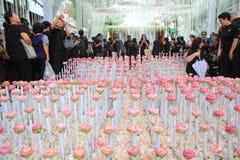 Flower Arrangement tunnel in Thai Royal Cremation Ceremony at Pak Klong Flower Market Royalty Free Stock Photos
