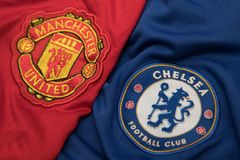 BANGKOK, THAILAND - OCTOBER 23: The Logo of Chelsea and Manchest