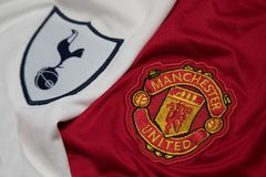 BANGKOK, THAILAND - OCTOBER 23: The Logo of Tottenham Hotspur an. D Manchester United on Football Jerseys on October 23 ,2017  in Bangkok Thailand Stock Photo