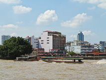 BANGKOK, THAILAND - OCTOBER 2, 2016: Long tail boat serving for tourist to travel around the Chao Phraya river in Bangkok. Thailand Royalty Free Stock Image