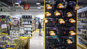 BANGKOK, THAILAND - OCTOBER 22: Mr. DIY hardware store displays. Various models of drills for sale with pricing in Thai baht in Victoria Garden in Bangkok on royalty free stock photo