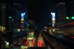 BANGKOK, THAILAND - OCTOBER 25, 2014:. Night view from BTS Siam station connecting Sukhumvit and Silom lines. The station is located on Rama I Road to the west Royalty Free Stock Images