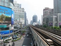 BANGKOK, THAILAND - OCTOBER 30, 2013: railway line of BTS Skytrain in city centre. Royalty Free Stock Images