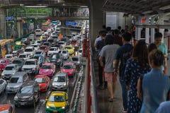Bangkok, Thailand- October 9,2016 :skywalk and heavy traffic at Royalty Free Stock Photography