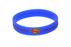 BANGKOK, THAILAND -OCTOBER 2, 2016: Superman Logo on Blue wristband on October 2,2016 royalty free stock images