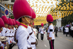 Bangkok, Thailand - October 25, 2013 : Thai guardsman band march Royalty Free Stock Photo