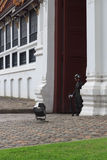 BANGKOK, THAILAND- OCTOBER 26, 2014:. An unidentified soldier stands guard at the Grand Palace on October 26, 2014 in Bangkok, Thailand. A popular tourist Royalty Free Stock Image