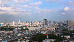 BANGKOK THAILAND - OCTOBER 21: View of Business Building Bangkok city area traffic location by panning with tracking high angle sh stock video