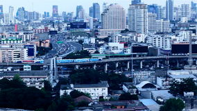 BANGKOK THAILAND - OCTOBER 21: View of Business Building Bangkok city area traffic location by panning with tracking high angle sh stock footage
