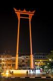 Bangkok Thailand 18 Oktober, 2015: De Reuzeschommeling bij nacht Royalty-vrije Stock Fotografie