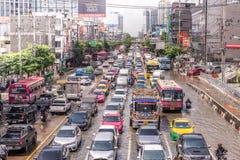 BANGKOK THAILAND - OKTOBER 14,2017: Sikt av den thailändska floden på den Ratchada-Ladprao vägen Fotografering för Bildbyråer