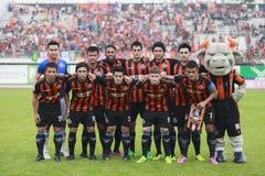 BANGKOK THAILAND OKTOBER 5: Spelare av Bangkok FC forsfoto b Arkivfoto