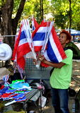 Bangkok, Thailand: Operation Shut Down Bangkok Flag Vendor Royalty Free Stock Photography