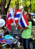 Bangkok, Thailand: Operation Shut Down Bangkok Flag Vendor Royalty Free Stock Photography