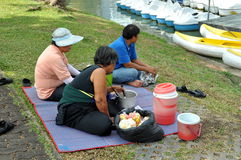 Bangkok, Thailand: People Having Picnic Lunch in Park Royalty Free Stock Photos