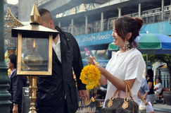 Bangkok, Thailand: People Lighting Incense Royalty Free Stock Photos