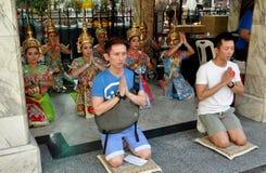 Bangkok, Thailand: People Praying at Erawan Shrine Stock Image