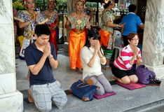 Bangkok, Thailand: Praying at Erawan Shrine Stock Photo