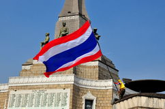 Bangkok, Thailand:  Protestor Waving Thai Flag Royalty Free Stock Photos