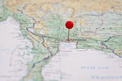 Bangkok, Thailand, Red Pin, Close-Up of Map. Stock Images
