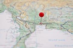 Bangkok, Thailand, Red Pin, Close-Up of Map. Macro of Red Pin, Bangkok, Thailand, Close-Up of Map stock images