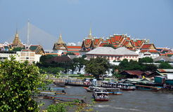 Bangkok, Thailand: River & Grand Palace Royalty Free Stock Image