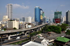 Bangkok, Thailand: Sathorn Road Skyline Royalty Free Stock Photos