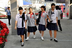 Bangkok, Thailand: School Girls in Uniforms Royalty Free Stock Image