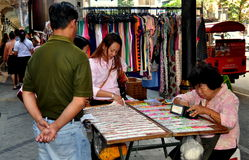 Bangkok, Thailand: Seller with Lottery Tickets Royalty Free Stock Images