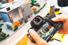 Bangkok, Thailand - Sep 21, 2018: Man using and testing the new Nikon Z7 full-frame mirrorless camera at public launch event royalty free stock images