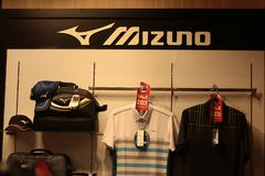 Bangkok Thailand-Sep2018: Mizuno brand shirts bag and hat , shop at department store royalty free stock photo
