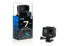 Bangkok, Thailand - Sep 30, 2018: New GoPro Hero 7 Black action camera with package box, isolate on white background stock images