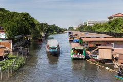 Bangkok, Thailand: September 20, 2014: Boat along the river or KLONG in Bangkok Stock Photo