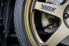 Golden Volk Rays TE37 luxury rims produced for Japanese sport cars.. Stock Photo