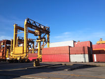 Bangkok,Thailand-September 2015:group of containers and crane in Stock Photography
