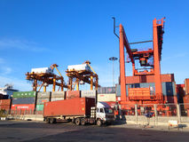 Bangkok,Thailand-September 2015:group of containers and crane in Stock Images