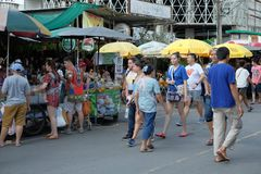 Bangkok,Thailand - September 18, 2016: A lot of people walking in market. For editorial use only stock image