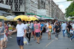 Bangkok,Thailand - September 18, 2016: A lot of people walking in market. For editorial use only royalty free stock image