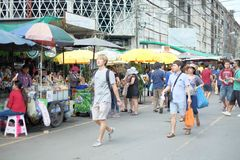 Bangkok, Thailand - September 18, 2016: A lot of people walking in market. For editorial use only stock image