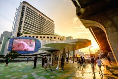 MBK is a large shopping mall in Bangkok, Thailand at dusk Stock Photo