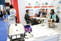 Medical Fair Thailand held at QSNCC exhibitional Hall which pres Stock Photos