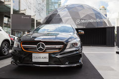 BANGKOK, THAILAND - SEPTEMBER 26, 2015: Mercedes-Benz CLA 45 AMG presented on Mercedes-Benz Star Dome display Royalty Free Stock Images