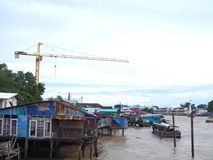 Recycle old wooden houses on Chao Phraya river, Bangkok Royalty Free Stock Photography