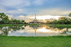 Ratchamangkhala Pavilion at public park name Suan Luang Rama IX on sunset or evening time. Bangkok, Thailand. - September 2, 2017 : Ratchamangkhala Pavilion at royalty free stock photos