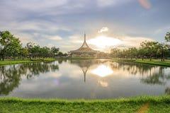 Ratchamangkhala Pavilion at public park name Suan Luang Rama IX on sunset or evening time. Bangkok, Thailand. - September 2, 2017 : Ratchamangkhala Pavilion at stock photo