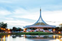 Ratchamangkhala Pavilion at public park name Suan Luang Rama IX on sunset or evening time. Bangkok, Thailand. - September 2, 2017 : Ratchamangkhala Pavilion at royalty free stock photo